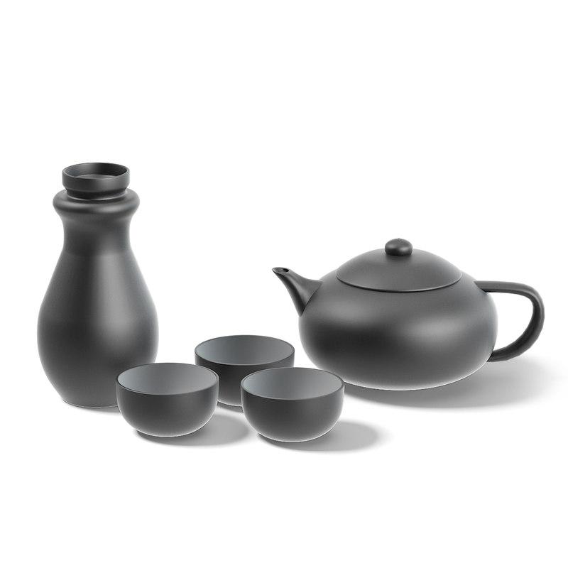 black tea set 3D model