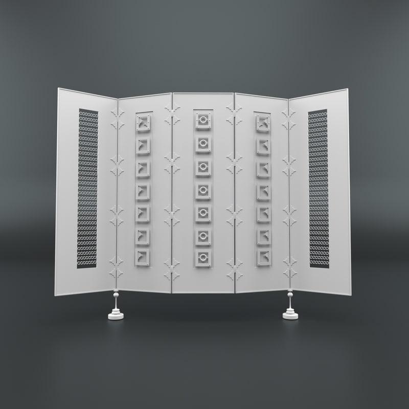 cartoon folding screen model