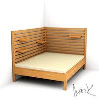 bed 150 200cm 3D model