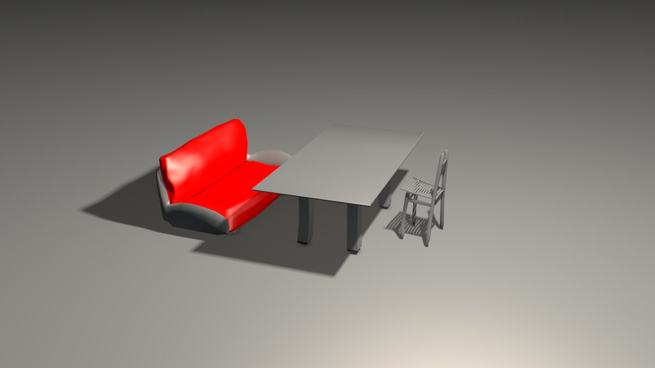 3D model cartoony living room