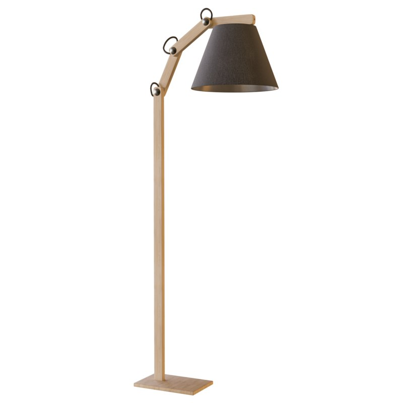 3D floor lamp black