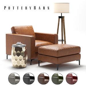3D pottery barn jake armchair model