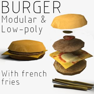 3D modular burger french fries model