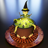 3D model cake witch