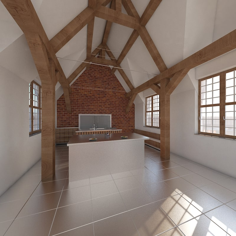 realistic kitchen loft scene model
