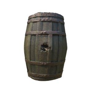 3D realistic wooden barrel photoscan model