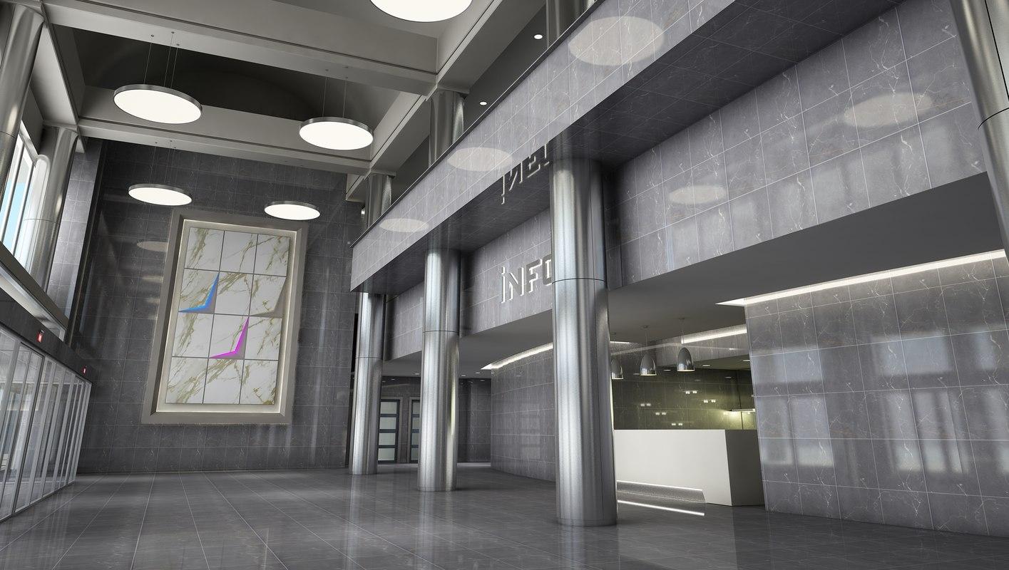 3D model hotel lobby