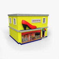cartoony shoe store 3D model