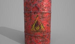 3D model barrel explosive