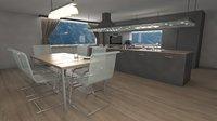 modern kitchen design 3D