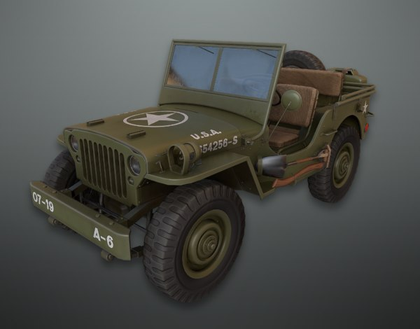 3D pbr military army jeep