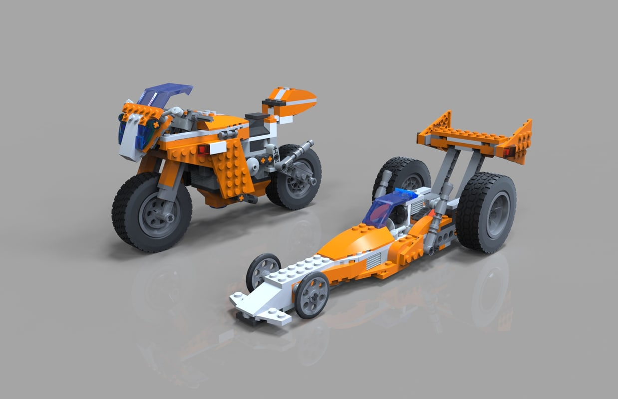 3D lego moto bike model