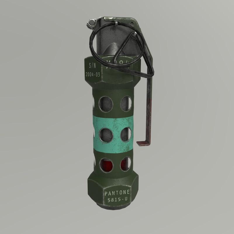 3D model xm84 stun grenade pbr