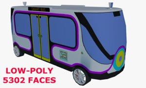 low-poly smart minibus 3D model