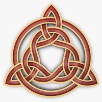 triquetra celtic knot 3D