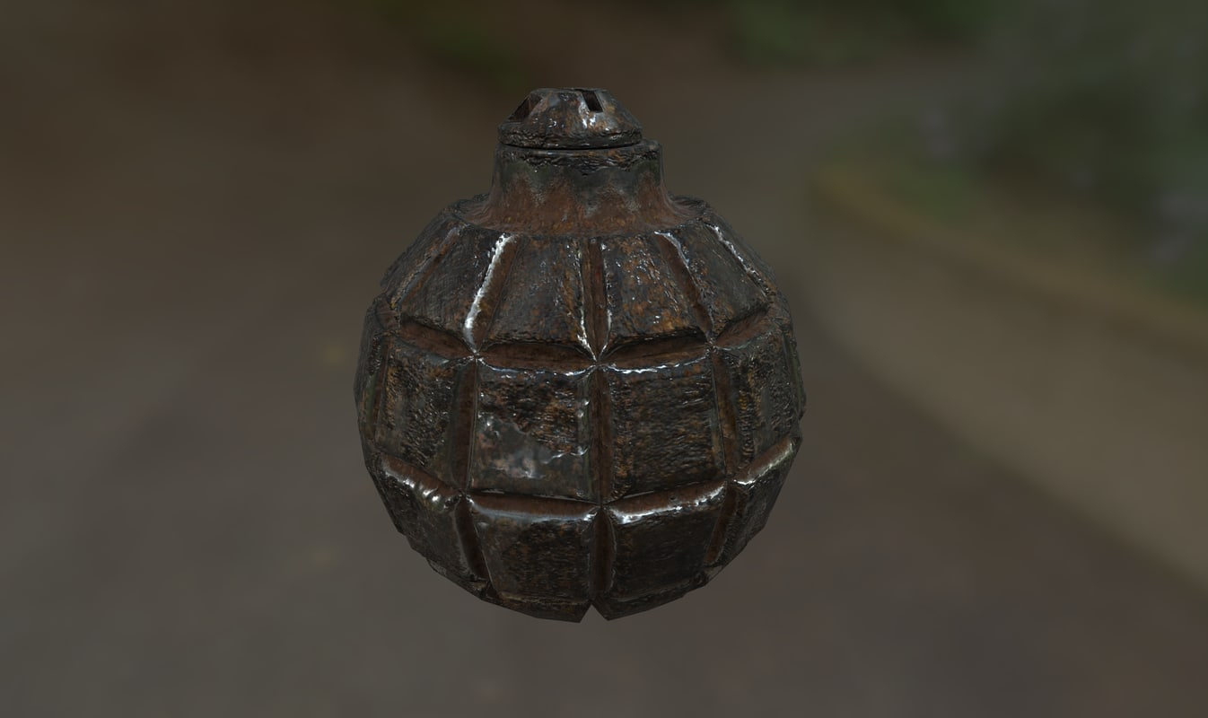3D wwii japanese grenade midpoly