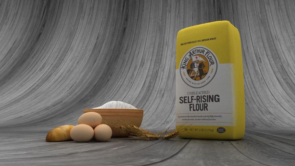flour wheat package bag 3D model