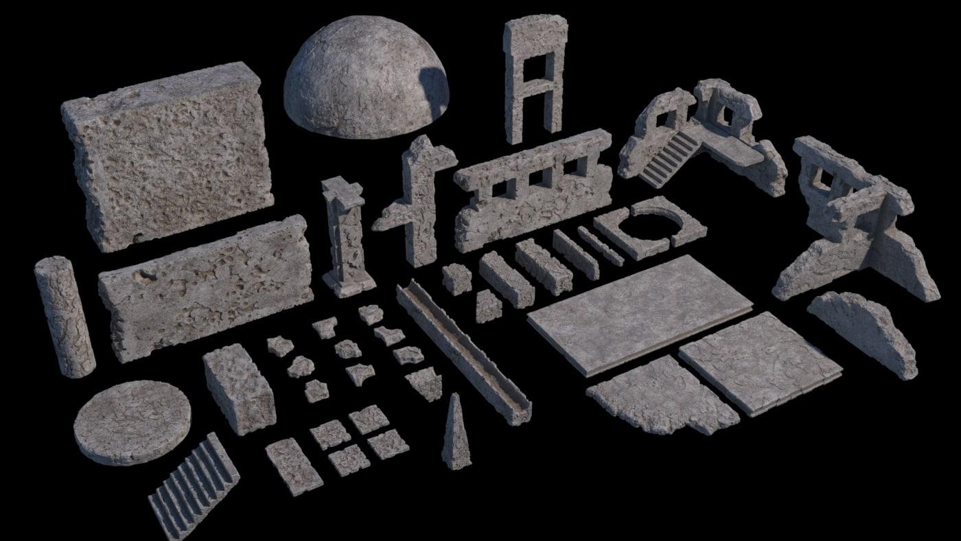 ancient ruin kit 40 3D model