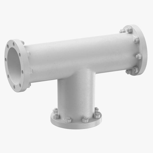 3D model industrial pipe t shape