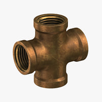 3D vintage brass pipe 4 model