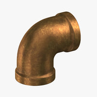 3D vintage brass pipe 90
