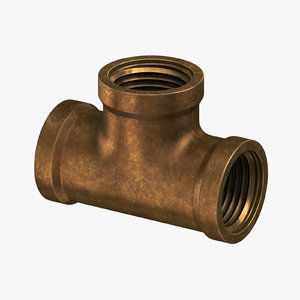 3D model vintage brass pipe t-joint