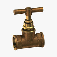 vintage brass pipe valve 3D model