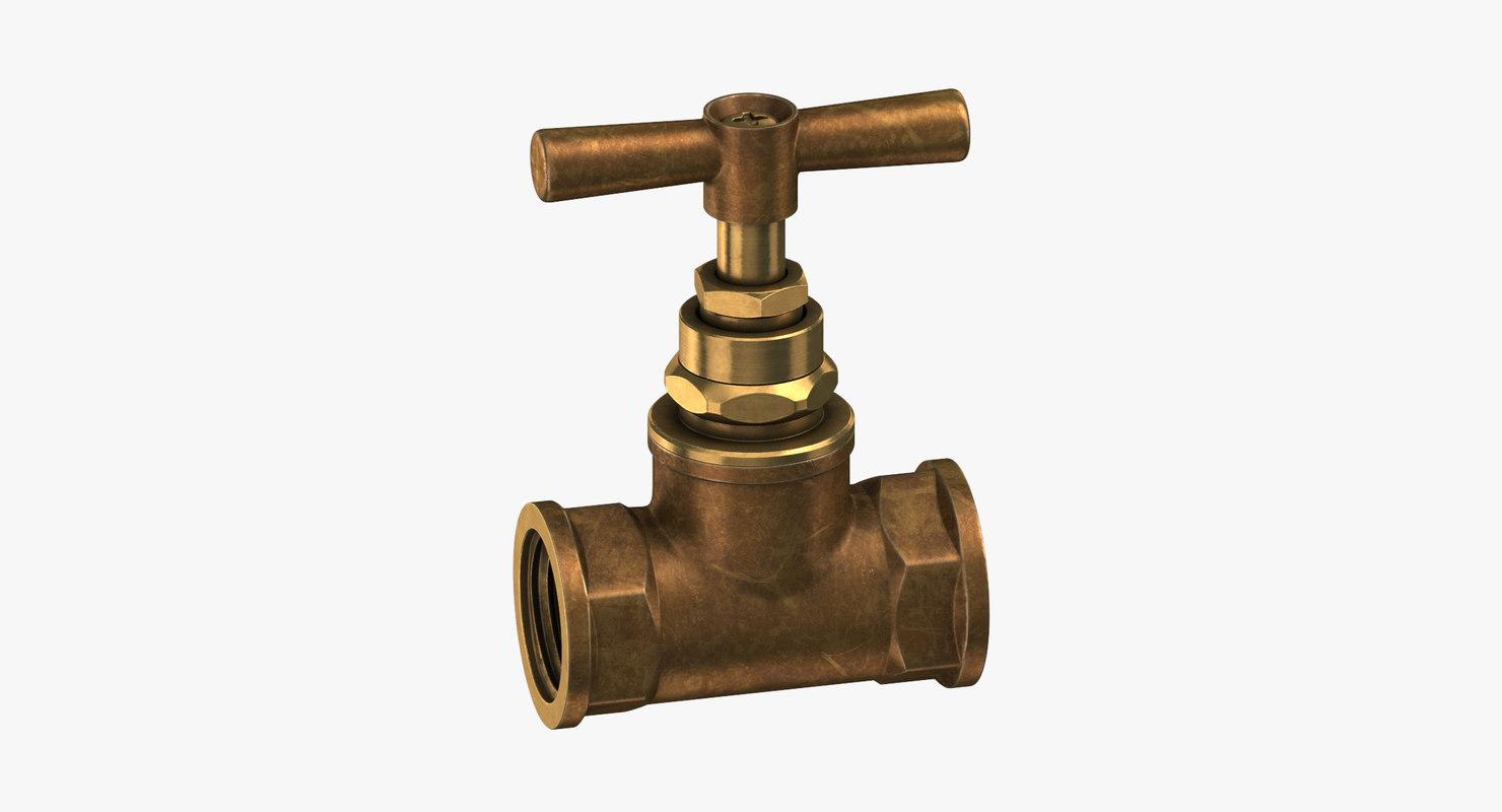 vintage brass pipe valve 3D model