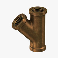 3D vintage brass pipe y-joint