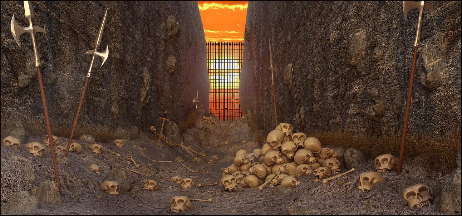 3D skull fantasy path