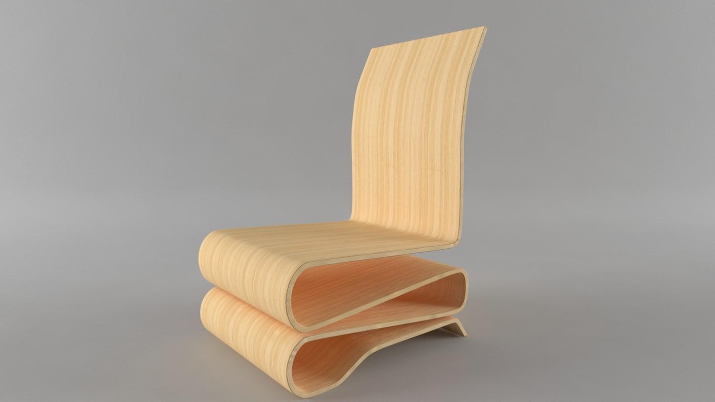 simple wood chair 3D model