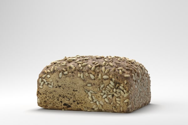 3D photorealistic sunflower seed bread model