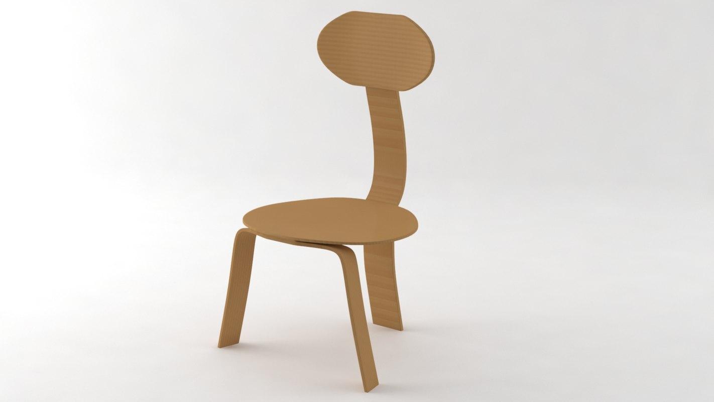 simple wood chair model
