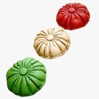 3D pillow green red
