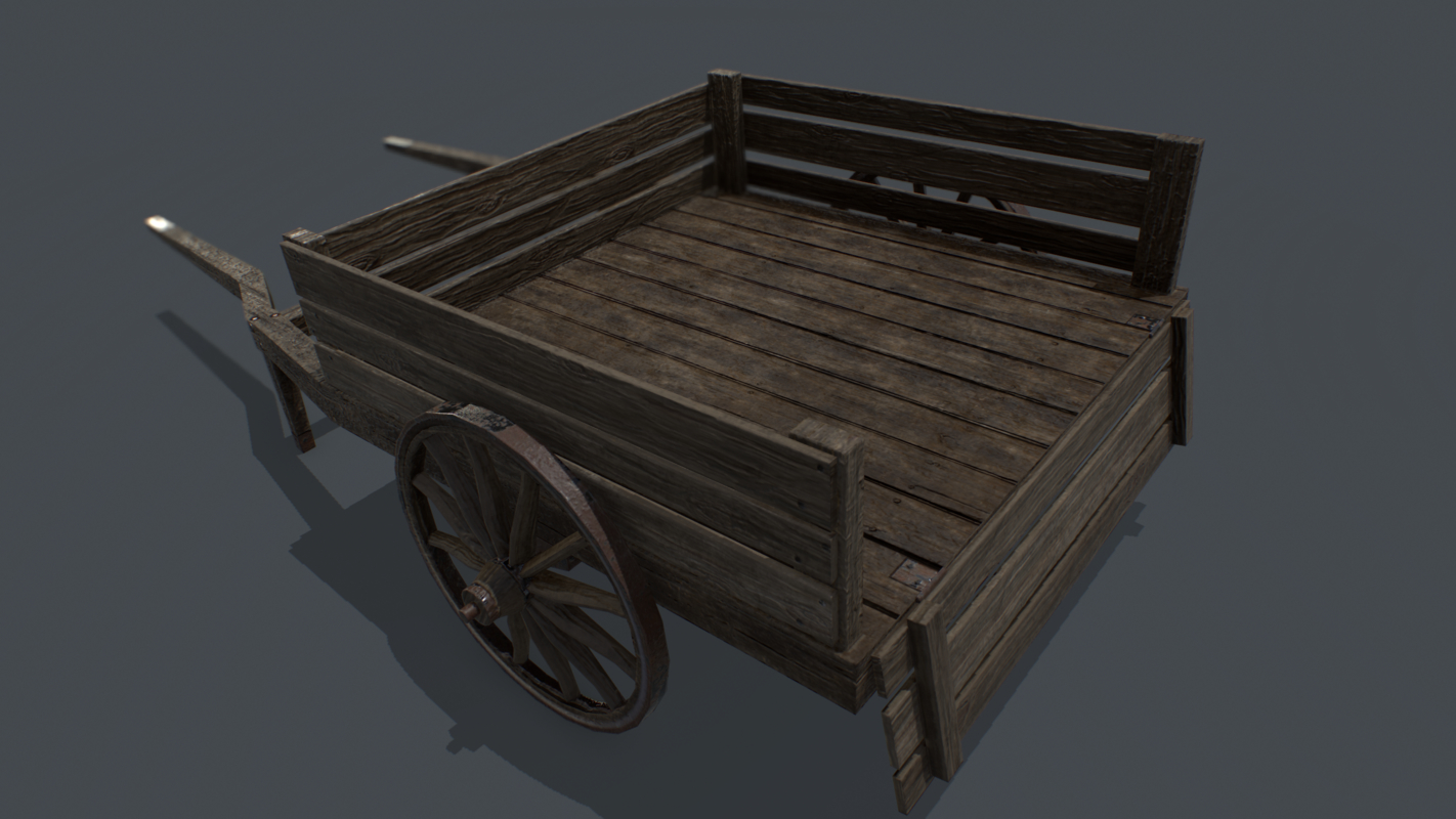 pbr medieval cart model