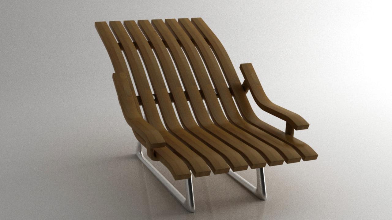 3D modern wood chair beach