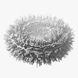 3D abstract city torus -