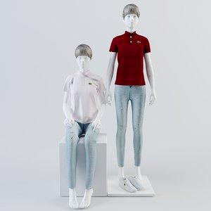lacoste mannequin woman 3D model
