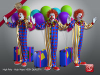 3D model male clown 001