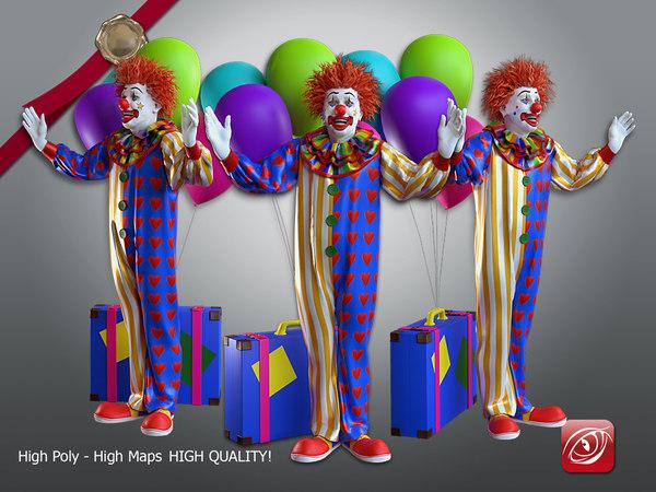 3D model male clown 001