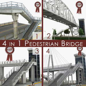 pedestrian bridges 3D