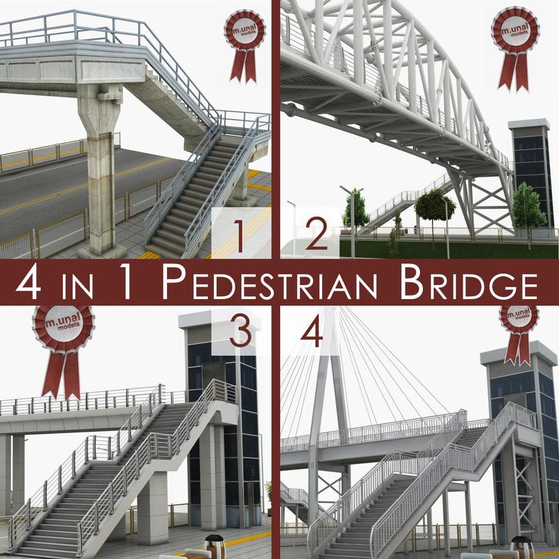 pedestrian bridges 3D