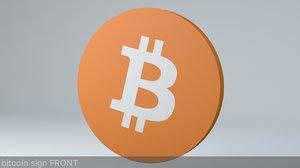3D bitcoin crypto currency logo model