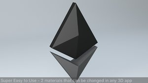 3D model ethereum crypto currency logo