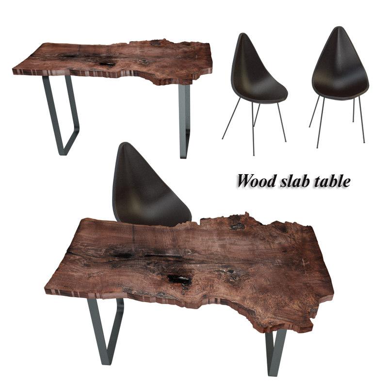 wood slab table set model