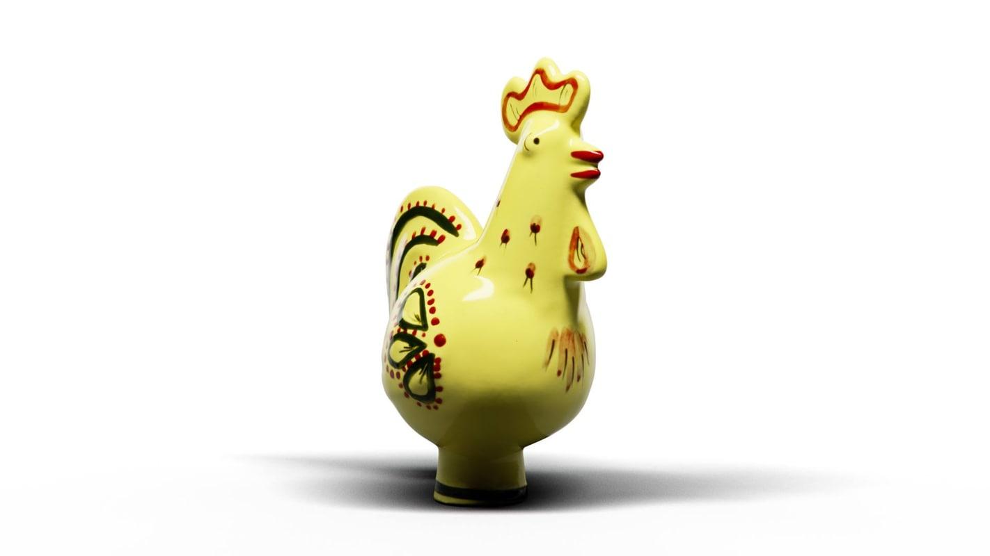 yellow hen 3D model