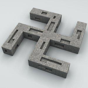 oriental religious swastika 3D model