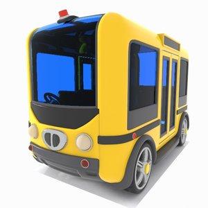 3D model minibus bus toon