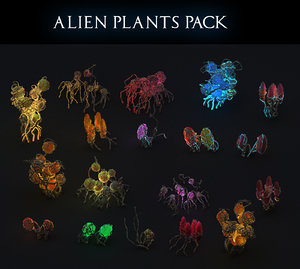 3D alien plants pack 18 model