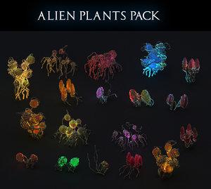 3D alien plants pack 18 model